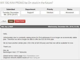 与官方确认,以后将不再有年付$19.99的10G KVM套餐